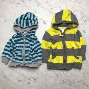 Carter's 3M Striped Cardigan Sweater Hoodie Zip Up